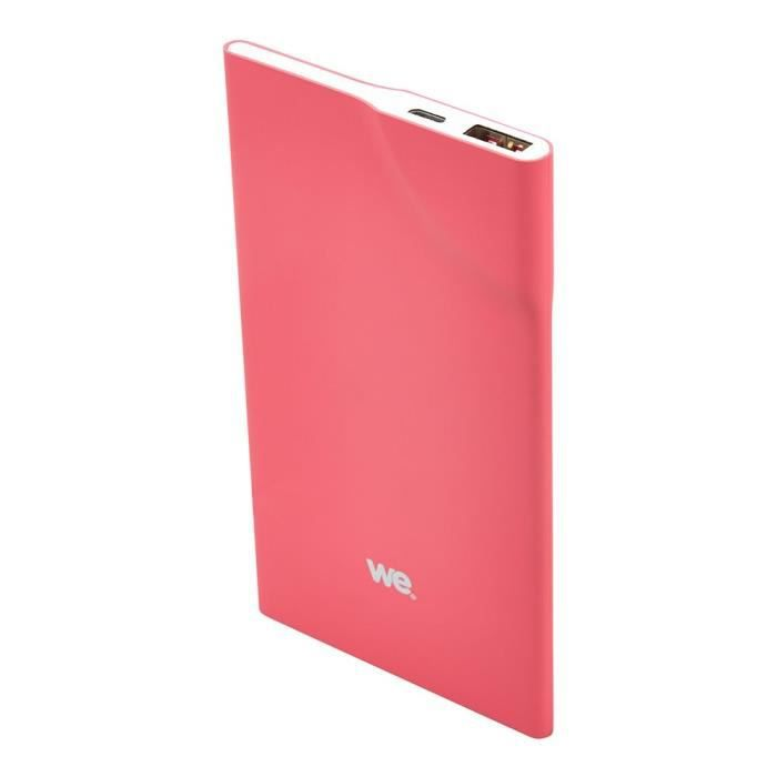 WE Batterie externe 3200mAh 1 port USB 1A - Bouton tactile - Fushia
