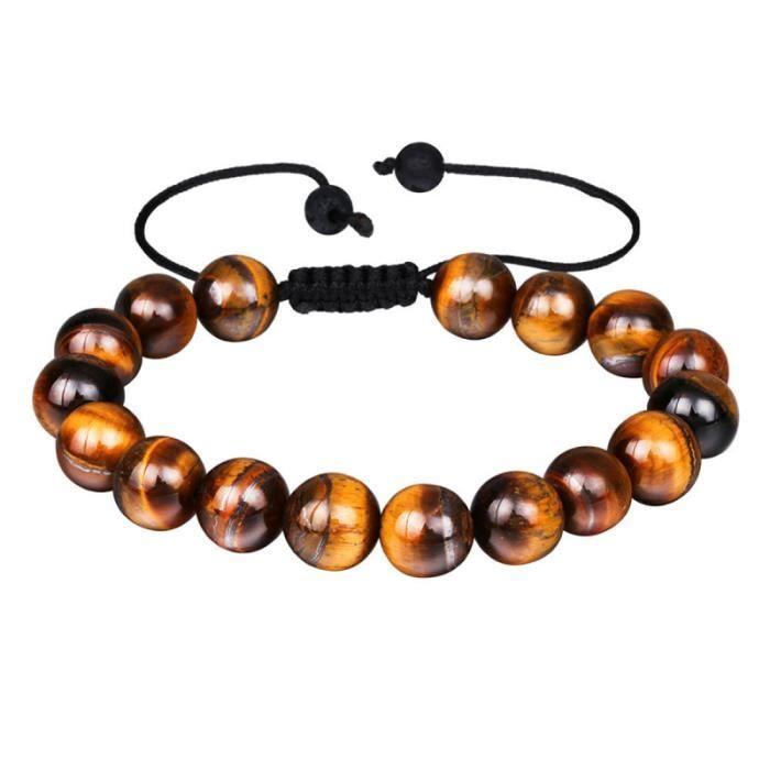 1 pc Bracelet de perles Nature tigre-oeil élastique réglable énergie sangle à la main en pierre pour BRACELET - GOURMETTE - JONC