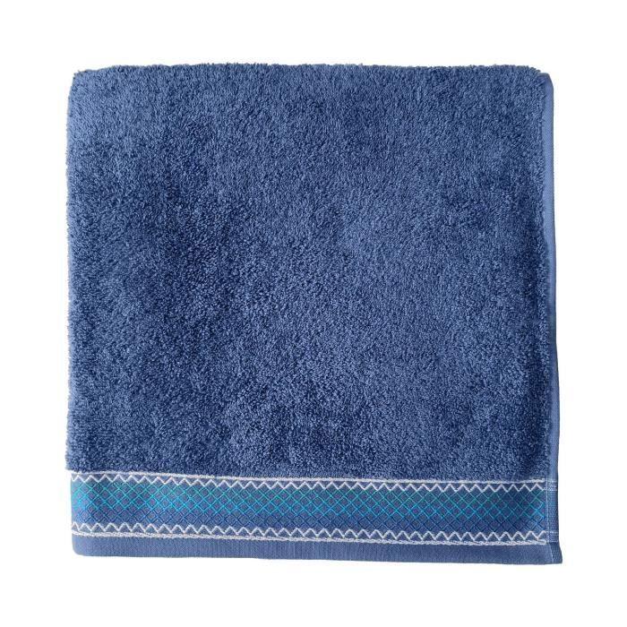 SANTENS Serviette de bain 100 % Coton Orka - 68 x 140 cm - Bleu foncé