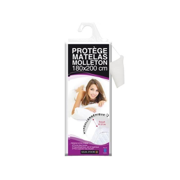 Protège-matelas molleton 180x200 cm blanc