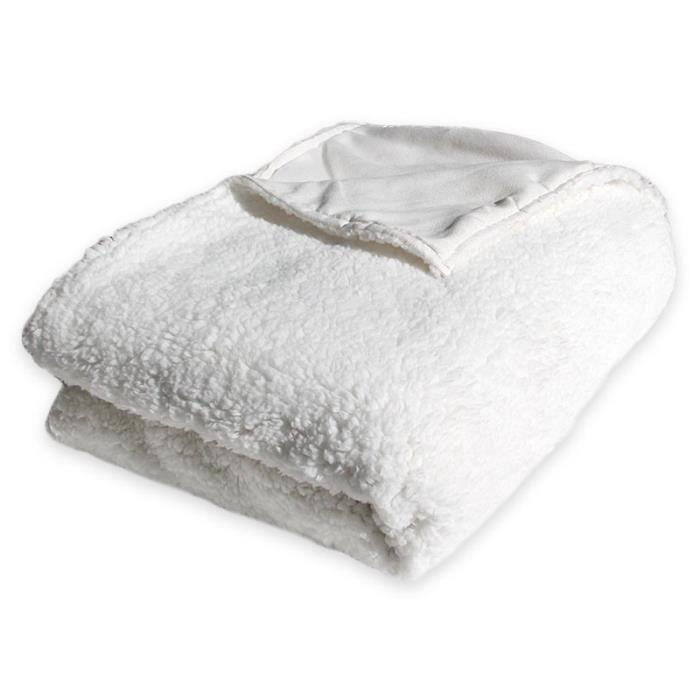 Plaid réversible extra doux blanc 130x160cm CALINE 130 x 160 cm Blanc