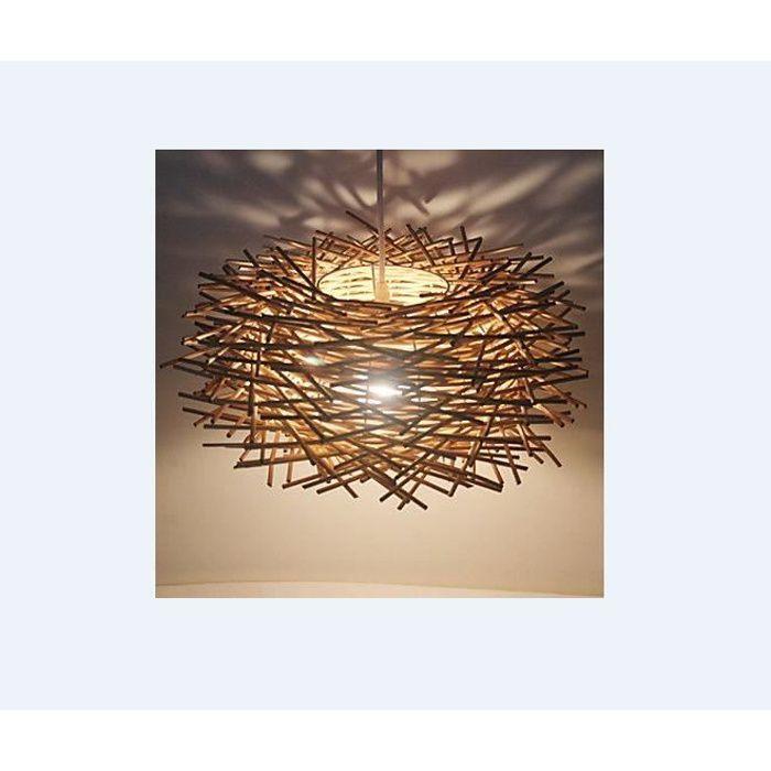 Modernes plafonniers 30CM lampe de plafond moderne Rural Restaurant en rotin tissé d'art Cany seule tête lustre lampe LED , bois