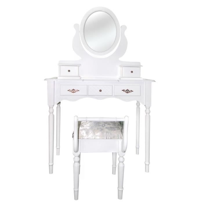 Table maquillage coiffeuse blanc 5 tiroir miroir oval bois for Coiffeuse chambre adulte
