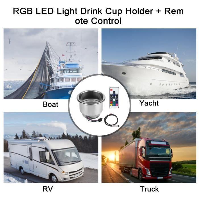 Porte-gobelet en Acier Inoxydable LED RGB avec T/él/écommande pour Camion de Camping-car Marin
