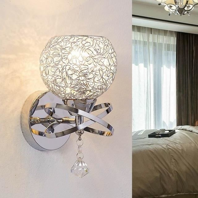 style moderne appliques murales lampe de chevet lampes applique chambre d 39 escalier de cristal. Black Bedroom Furniture Sets. Home Design Ideas
