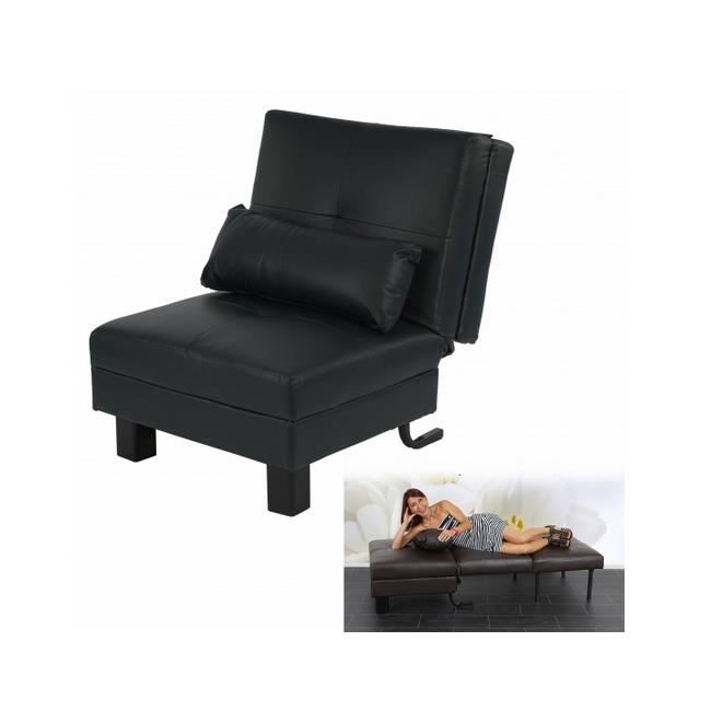 fauteuil canap relax manta convertible noir achat vente fauteuil cuir cdiscount. Black Bedroom Furniture Sets. Home Design Ideas