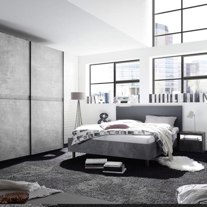 Chambre adulte design gris effet béton CASONE lit 180 cm Gris L 190 x P 210  x H 110 cm