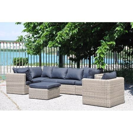 ensemble salon de jardin r sine tress e ronde 7 achat vente salon de jardin gris soldes. Black Bedroom Furniture Sets. Home Design Ideas