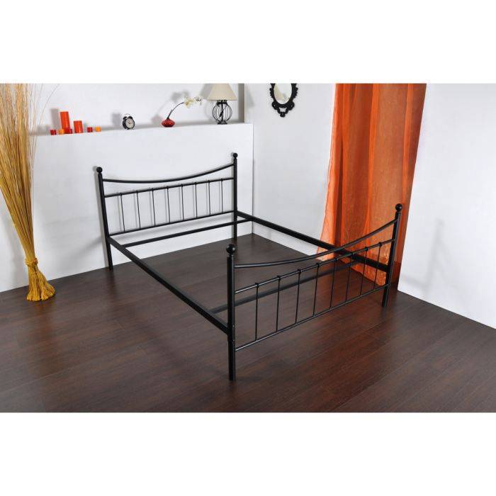 lit m tal en 140 best achat vente structure de lit cdiscount. Black Bedroom Furniture Sets. Home Design Ideas