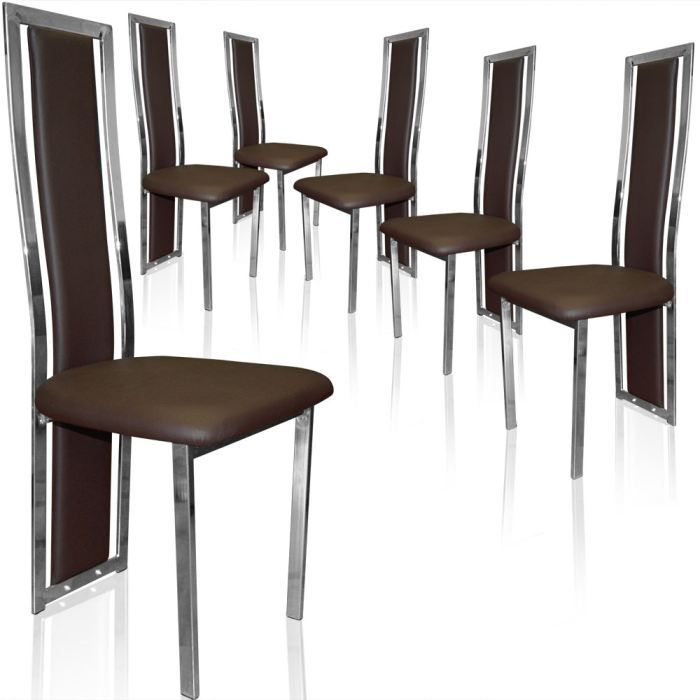 lot de 6 chaises melys marron achat vente chaise marron cdiscount. Black Bedroom Furniture Sets. Home Design Ideas