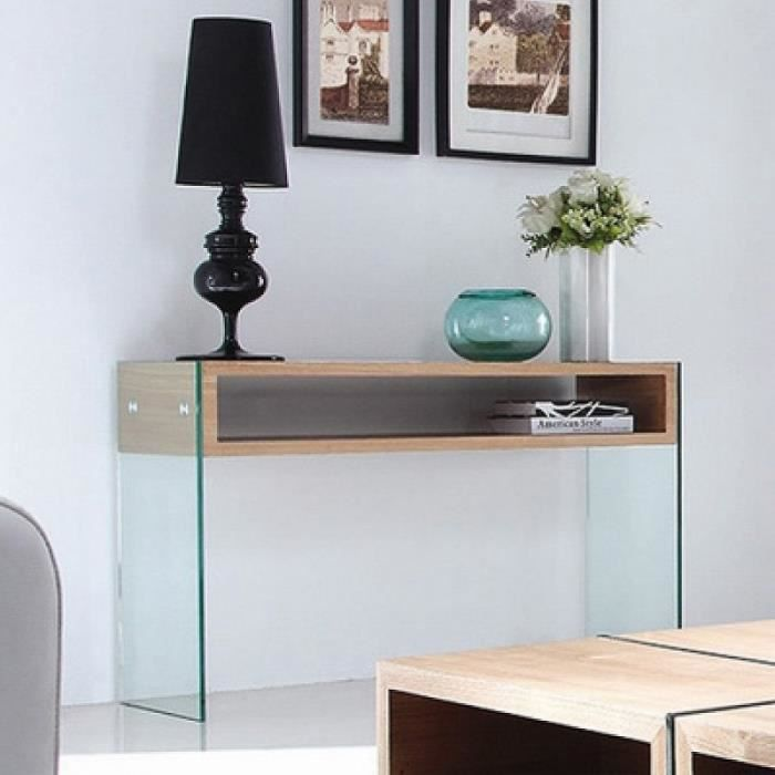 CONSOLE Console en verre design WOODI