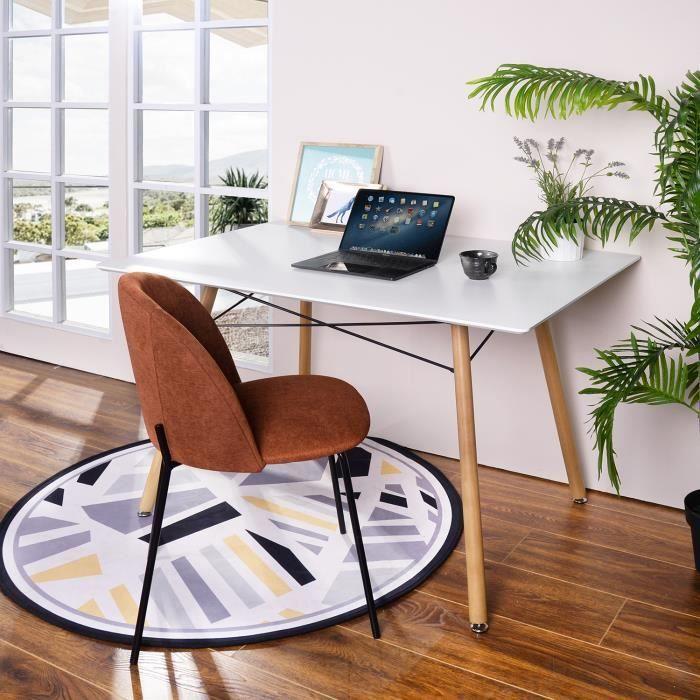 Table Salle à Manger Style Scandinave Table de Cuisine Salon Travail  rectangle rectangulaire Pieds en Bois Blanc