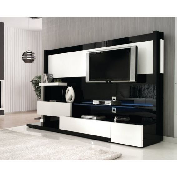 meuble tv mural miraz03 noir blanc 32 60 pouces achat vente meuble tv meuble tv mural. Black Bedroom Furniture Sets. Home Design Ideas
