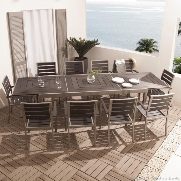 Salon de jardin 10 places en aluminium et composite : 1 ...