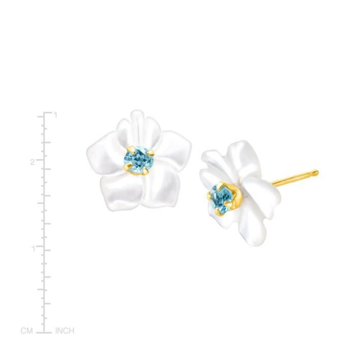 Womens 1-10 Ct Natural Blue Topaz And Mother-of-pearl Stud Earrings In 14k Gold RA9S6