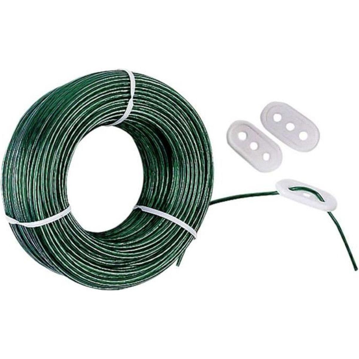 FIL À LINGE - ÉTENDOIR Corde à linge en acier plastifié. Livrée avec 3…