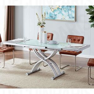 TABLE BASSE Table basse relevable blanche 2 allonges grises ST