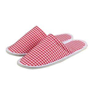 CHAUSSON - PANTOUFLE [Red Lattice] 10 paires de pantoufles jetables Cha
