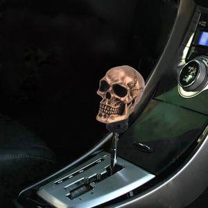 sourcingmap/® V/éhicule Auto D/écoration Beige Dents Rouge Forme de T/ête de Cr/âne Pommeau de Levier de Vitesses Protection