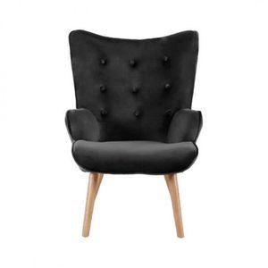 FAUTEUIL Helsinki fauteuil en velours avec pieds en bois No