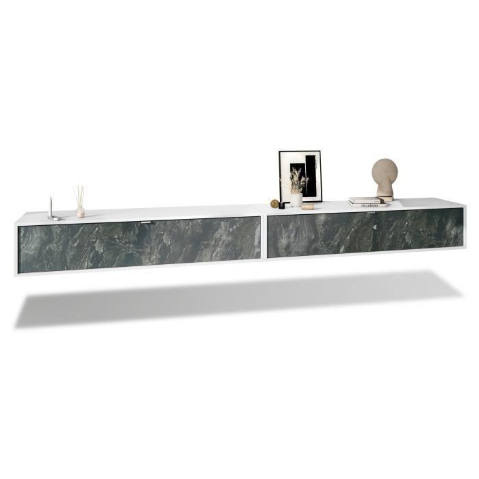 Ensemble de 2 set meuble TV Lana 140 armoire murale lowboard 140 x 29 x 37 cm, caisson en blanc mat, façades en Marbre Graphite