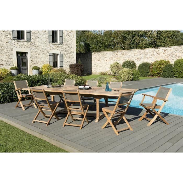 Ensemble de jardin en teck : 1 table rectangulaire 200 / 300 x 120 cm - 3 lots de 2 chaises pliantes - Lot de 2 fauteuils pliants JA