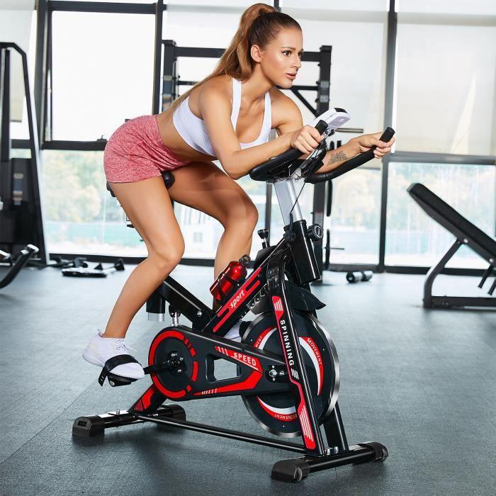 Vélo de spinning à domicile absorbant les vibrations + fréquence cardiaque -noir rouge -100,5 * 48,5 * 116 cm