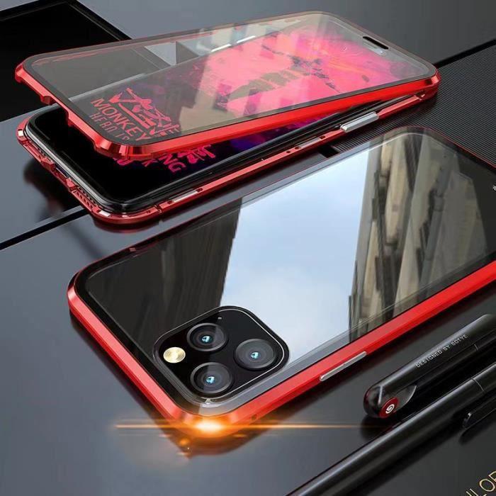 1pcs Magnétique Coque Pour iphone 11pro Bumper Devant Dos En Verre Trempé Bumper Rouge