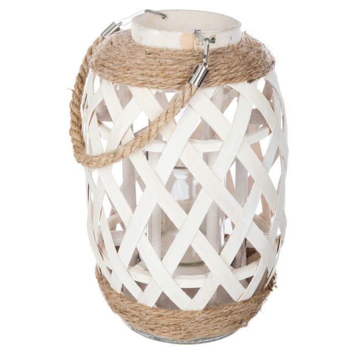 Lanterne en bambou Ethnik - H. 32 cm - Blanc