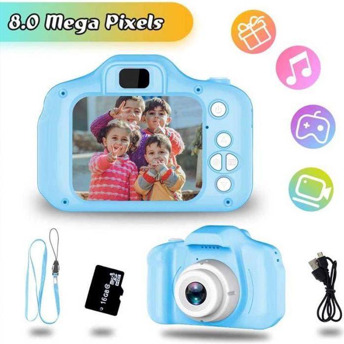 Jouets 3-6 Ans Fille Appareil Photo Enfant HD1080P Appareil Photo Numerique Enfants Cadeaux Anniversaire Noël Présente (Bleu)