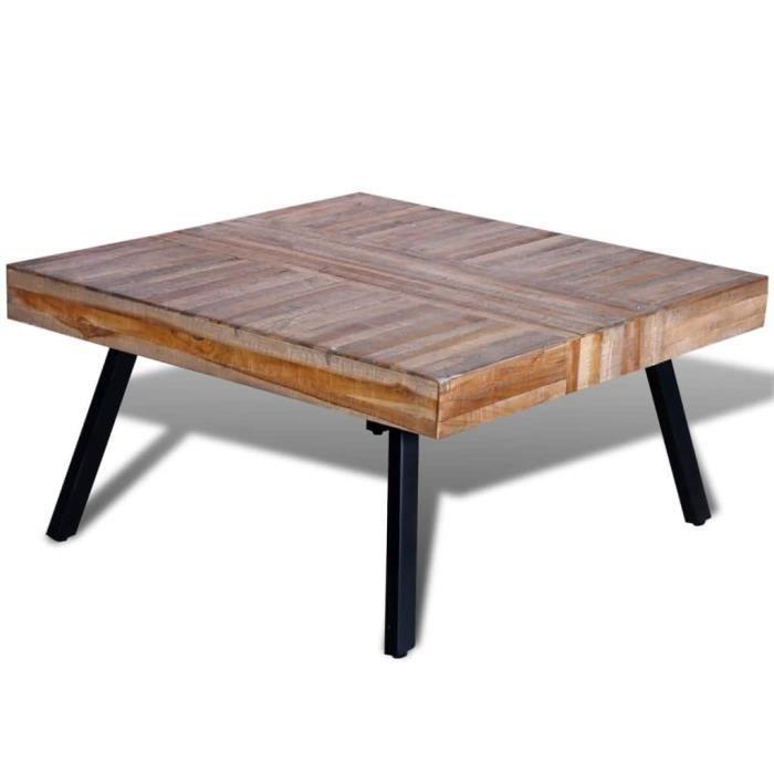 Liya-Table basse carrée Bois de teck de récupération