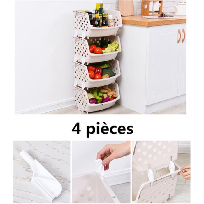 4 pièces Boîte de Rangement en Plastique pour Ranger Pommes de Terre, Oignons, et Autres Fruits et Légumes (Beige)