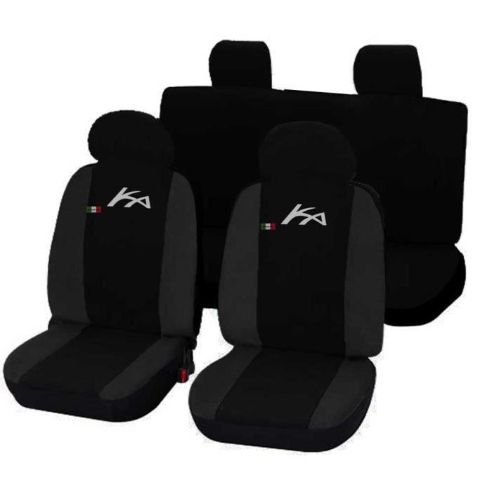 Housses de siège deux-colorés pour Ford Ka - noir gris foncè
