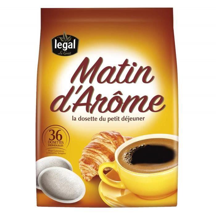 Cafés Legal Matin d`Arome 36 dosettes souples (Lot de 5 X 36 dosettes) - 180 dosettes compatibles avec les machines Senseo® -