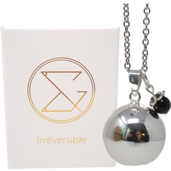 Bola de grossesse argent lisse pierre naturelle avec chaîne - Lithothérapie Obsidienne - plaquée argent véritable - coffret cadeau