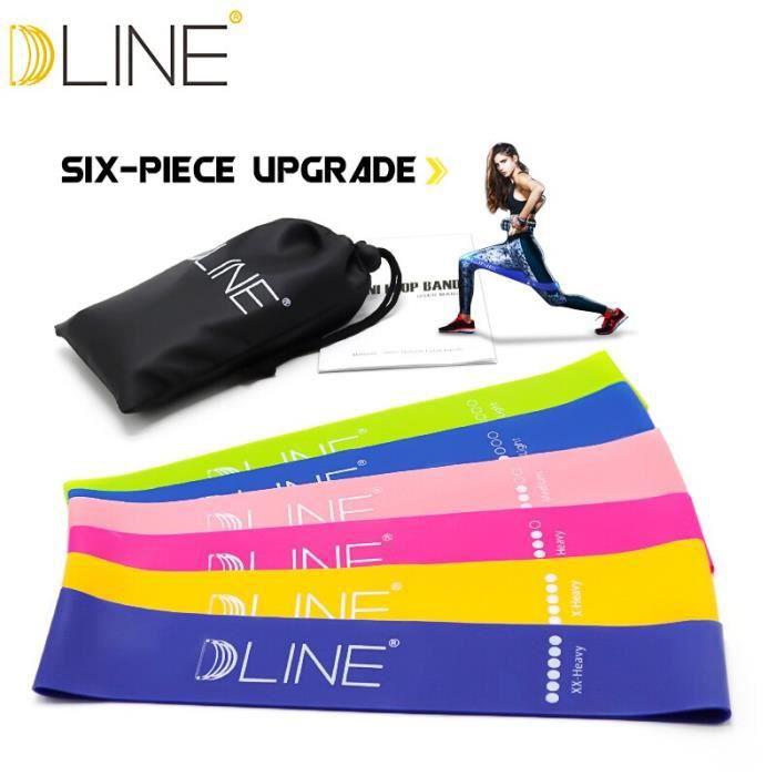 Bandes de résistance ensemble 6 niveaux élastique Latex Gym musculation 60 CM bandes de Yoga en caoutchou - HSJSTLDA03649