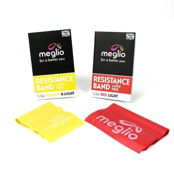 MEGLIO Bande élastique sans Latex – 1.2m et 2m Bandes pour la Force et Réhabilitation – qualité Supérieure – Guide d'exercice Inc