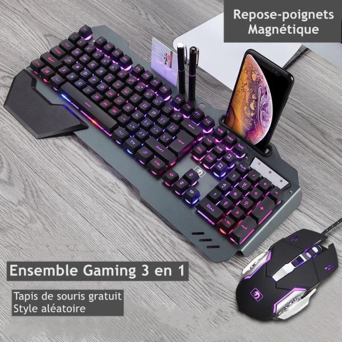 Gaming Pack Filaire Clavier Gamer + Souris + Tapis,Semi-Mécanique,Multi-Rétroéclairage,Alliage d'aluminium Clavier QWERTY / Anglais