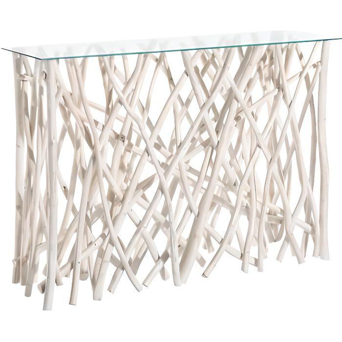 Console bois flotté blanc et plateau verre