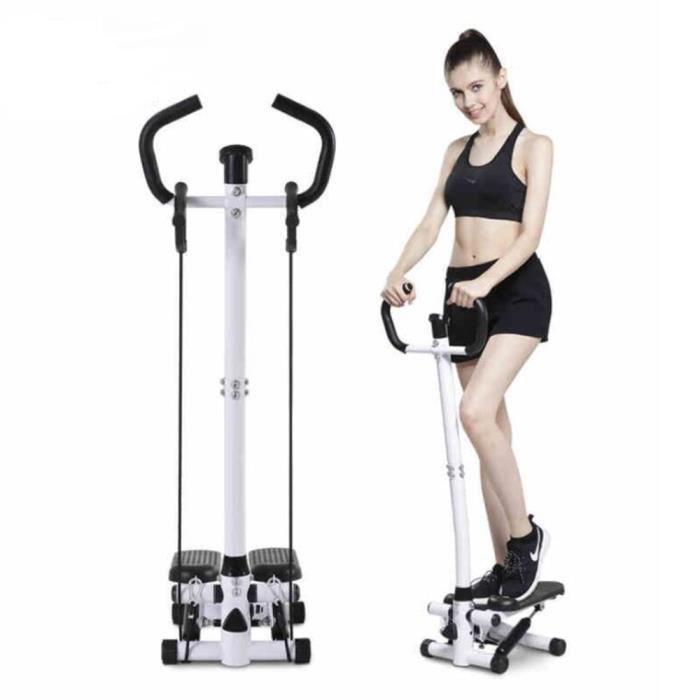 WSdwqaa° Stepper dappartement Fitness - Cordes élastiques - Poignées - Résistance réglable - Noir.