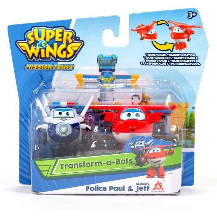 SUPER WINGS Pack de 2 figurines transformables Transform-a-bot - 5 cm - Jet & Paul