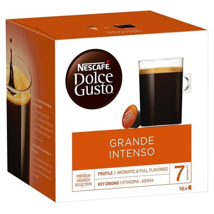 Dolce Gusto - 16 Capsules de Café Grande Intenso 128 g - Intensité 7