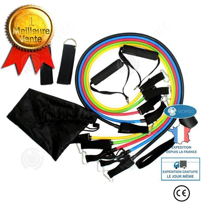 INN® set bande elastique fitness musculation 11 sport de resistance traction large cheville pied kit sangle Elastiband exercice homm