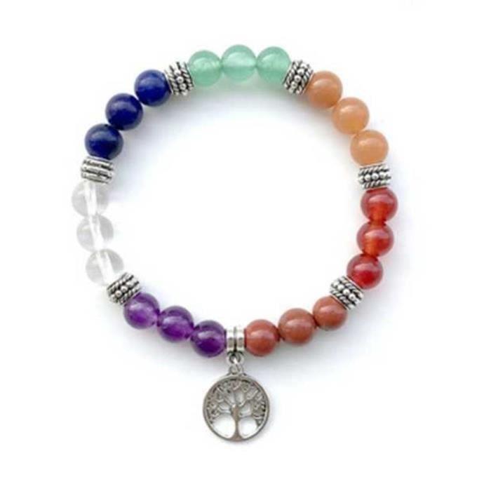 Bracelet de Guérison des 7 Chakras - Arbre De Vie - Multicolore