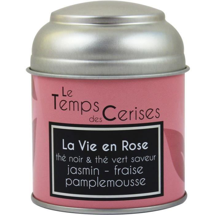 LE TEMPS DES CERISES Thé Noir et Vert La Vie en Rose Boite Métal 30g