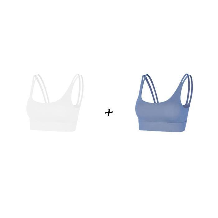 2 pièces Femme Sous vetements Bustier corset pour Jogging Yoga Gym Fitness(Couleurs différentes et Même taille)-L-Blanc-Bleu