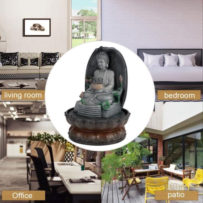 DECO☪Ornement de Fontaine d'Eau Bouddha LED Unique Artisanat en Résine Décor Salon de Thé (EU 220V)☪Lv.life☪NIM