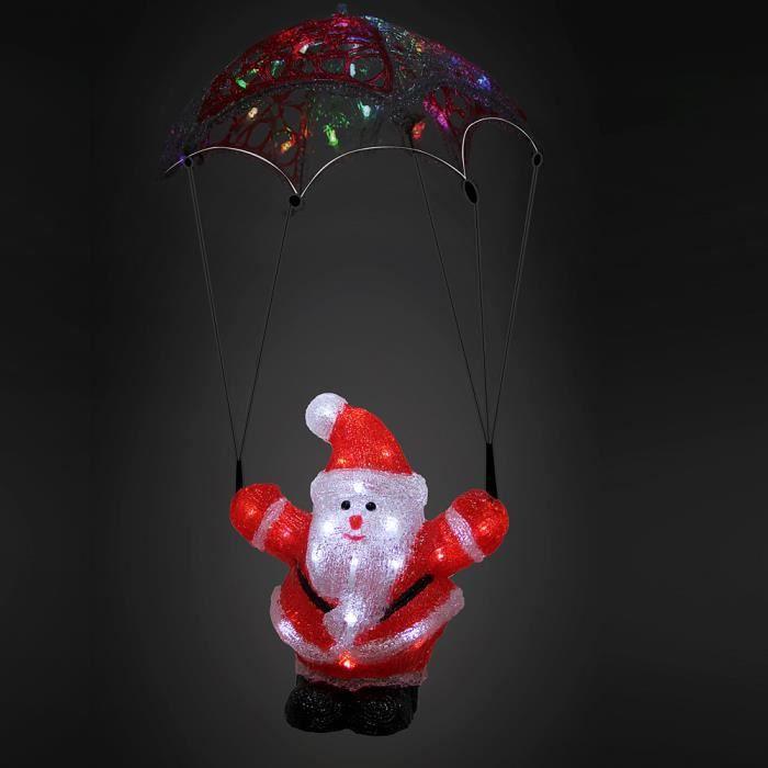 Monzana - Figurine Lumineuse LED en Acrylique - décoration de Noël - Père noël en Parachute - Illumination de noël - Père-noël