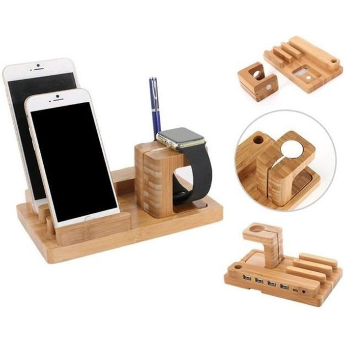 4 in 1 Bambou Bois Charge Dock Support pour Apple Montre et station d'accueil Support Berceau pour iPhone iPad iPod Apple Watch