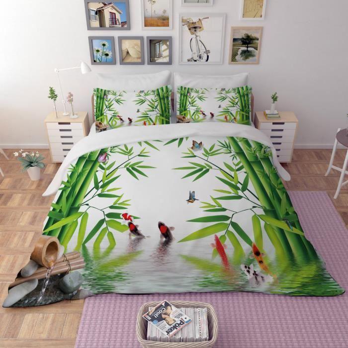 Parure de lit bambous l'eau pierres poissons papillons etc 220*240cm 3 pieces 1 housse de couette et 2 taies d'oreiller 63*63cm